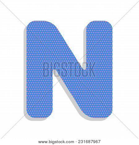 Letter N Sign Design Template Element. Vector. Neon Blue Icon With Cyclamen Polka Dots Pattern With