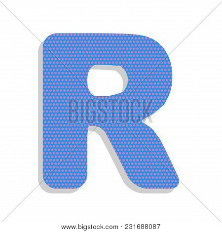 Letter R Sign Design Template Element. Vector. Neon Blue Icon With Cyclamen Polka Dots Pattern With