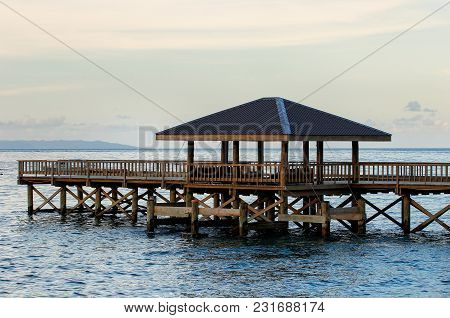Wooden Pier On Taveuni Island, Fiji. Taveuni Is The Third Largest Island In Fiji.