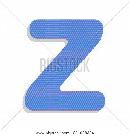 Letter Z Sign Design Template Element. Vector. Neon Blue Icon With Cyclamen Polka Dots Pattern With