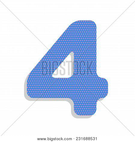 Number 4 Sign Design Template Element. Vector. Neon Blue Icon With Cyclamen Polka Dots Pattern With