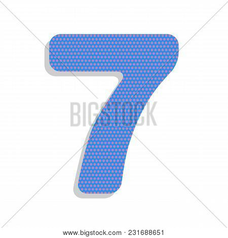 Number 7 Sign Design Template Element. Vector. Neon Blue Icon With Cyclamen Polka Dots Pattern With
