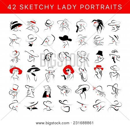 Vector Artistic Hand Drawn Stylish Young Lady Portrait Set Isolated On White Background. Fashion Gir