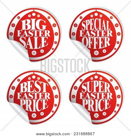 Best Easter Sale , Colorful Stickers Red Set.vector Illustration