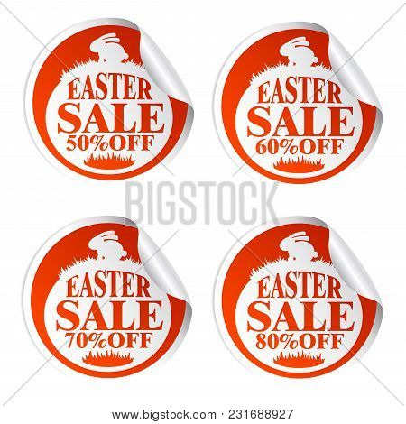 Easter Sale Stickers 50,60,70,80 With Rabbit.vrector Illustration