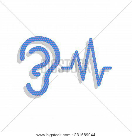 Ear Hearing Sound Sign. Vector. Neon Blue Icon With Cyclamen Polka Dots Pattern With Light Gray Shad