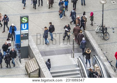 Munich , Germany - February 15 2018: The Subway Is Directly Connected To The Marienplatz.