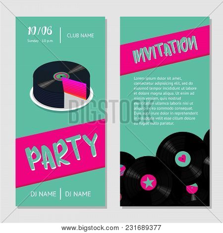 Dance Party Invitation For Nightclub With Vinyl Record. Birthday Music Cake.
