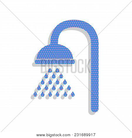Shower Sign. Vector. Neon Blue Icon With Cyclamen Polka Dots Pattern With Light Gray Shadow On White