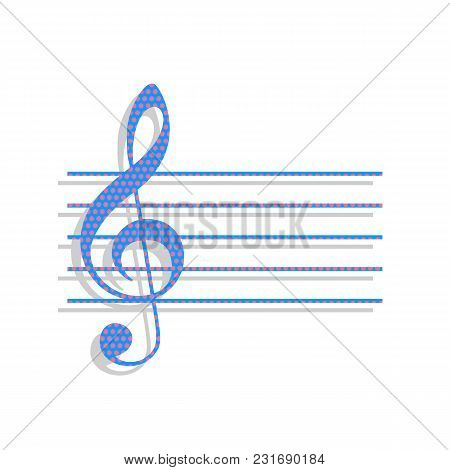 Music Violin Clef Sign. G-clef. Vector. Neon Blue Icon With Cyclamen Polka Dots Pattern With Light G