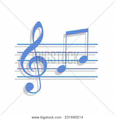 Music Violin Clef Sign. G-clef And Notes G, H. Vector. Neon Blue Icon With Cyclamen Polka Dots Patte