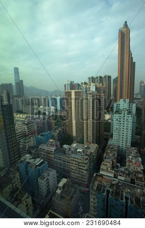 Downtown Kowloon Skyline And Rooftops, Hong Kong