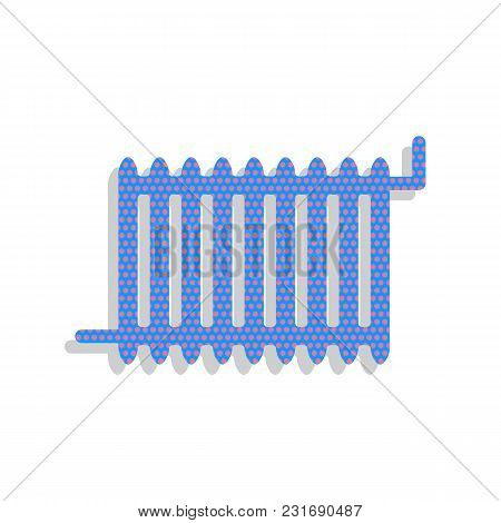 Radiator Sign. Vector. Neon Blue Icon With Cyclamen Polka Dots Pattern With Light Gray Shadow On Whi