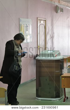 Moscow, Russia - March 18, 2018: The President Election In Russia. An Election Observer At A Polling
