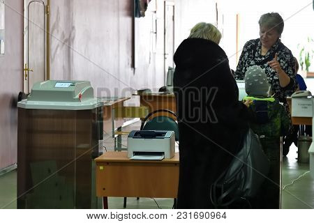 Moscow, Russia - March 18, 2018: The President Election In Russia. Citizens Voting In A Polling Stat