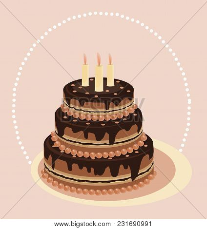 Chocolate Tiered Cake. Cake With Candles. Vector Card. Festive Cakes. Kiev Cake. Wedding Cake, Vanil