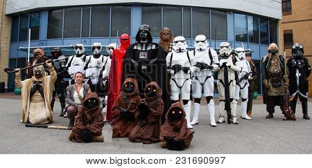 Doncaster, Uk - October 7, 2018. A Group Of Cosplayers Dressed As Characters From The Star Wars Movi