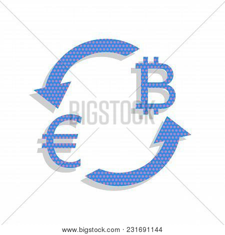 Currency Exchange Sign. Euro And Bitcoin. Vector. Neon Blue Icon With Cyclamen Polka Dots Pattern Wi