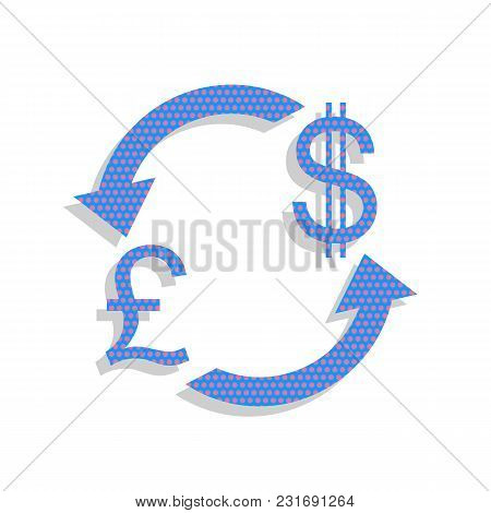 Currency Exchange Sign. Uk: Pound And Us Dollar. Vector. Neon Blue Icon With Cyclamen Polka Dots Pat