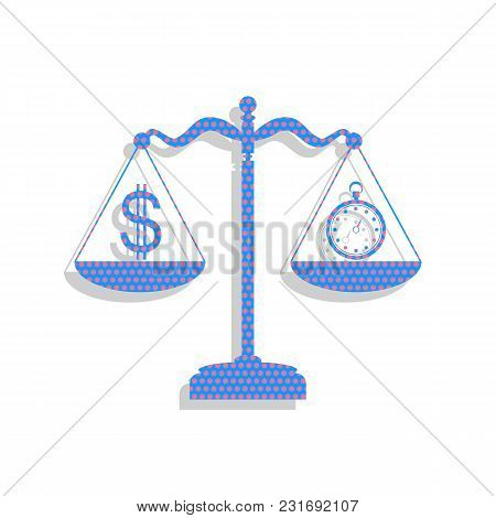 Stopwatch And Dollar Symbol On Scales. Vector. Neon Blue Icon With Cyclamen Polka Dots Pattern With