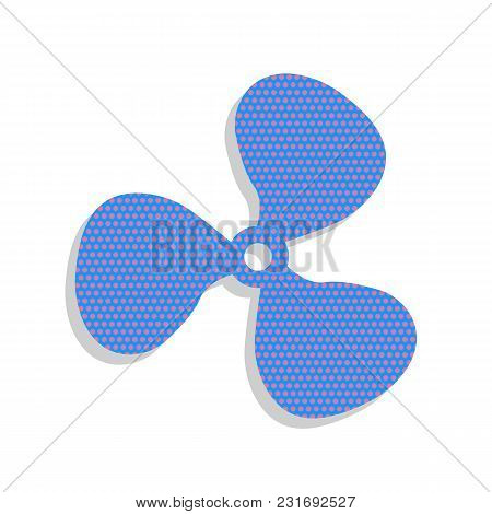 Fan Sign. Vector. Neon Blue Icon With Cyclamen Polka Dots Pattern With Light Gray Shadow On White Ba