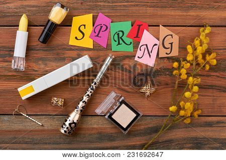 Flat Lay Cosmetics And Jewelry. Fashion Cosmetics Products And Colorful Letters Spring. Makeup Acces