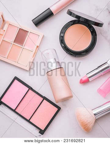 Set Of Decorative Cosmetic. Lipstick, Concealer, Blushes, Face Powder. White Marble Background.
