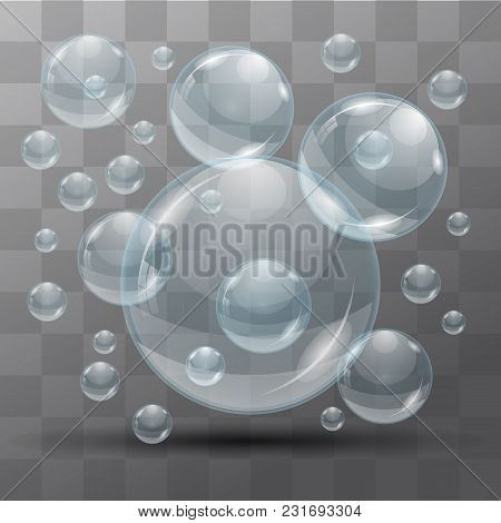 Transparent Water Bubbles On A Black Background. Isolated Objects. Vector The Background