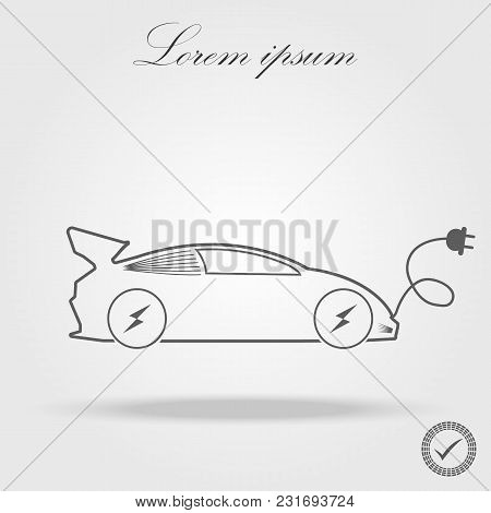 Electric Car Vector Line Icon Isolated On White Background. Electric Car Line Icon For Infographic,