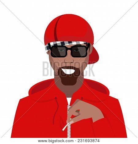 Cartoon Character. Avatar Symbol. Rapper Wearing A Cap. Vector Illustration
