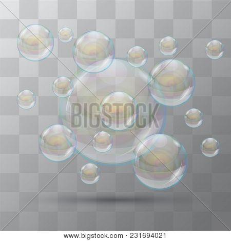 Bubble. Foam Soap. Some Bubbles On A Transparent Background. Vector Bubbles