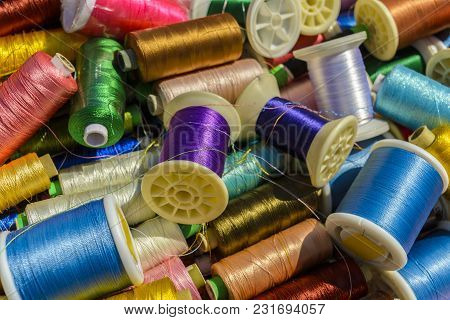 A Mixture Of Colourful Spools Of Thread. Exposed For Sale.