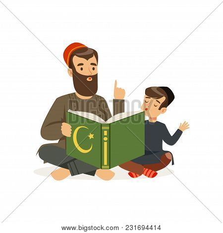 Father And His Little Son Sitting On Floor And Reading Holy Book. Islamic Religion. Muslim Family. C