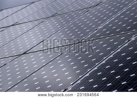 Modern Solar Cells Or Panels At The Top Of A Roof