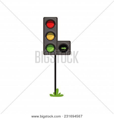 Traffic Lights With Additional Section Right Turn . Road Semaphore With Colorful Lamps Red, Yellow A