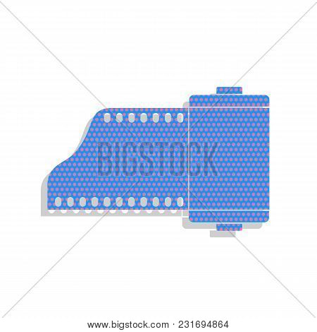 Old Photo Camera Casset Sign. Vector. Neon Blue Icon With Cyclamen Polka Dots Pattern With Light Gra