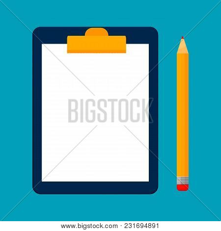 Concept For Business: Clipboard With Blank Sheets Of Paper. Clipboard And Pencil. Vector Illustratio