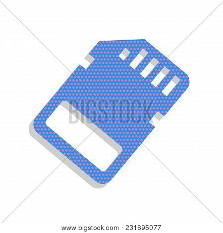 Memory Card Sign. Vector. Neon Blue Icon With Cyclamen Polka Dots Pattern With Light Gray Shadow On