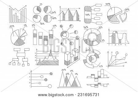Collection Of Various Diagrams, Graphs Of Growth And Development With Percents And Schematic Arrows.