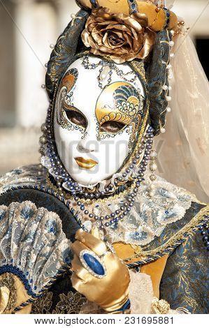 Venice, Italy - February 5 2018 - The Carnival Of Venice Is An Annual Festival Held In Venice, Italy