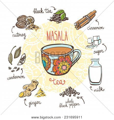Vector Illustration With Traditional Indian Hot Drink Masala Tea. Hand Drawn Ornate Cup And Doodle I