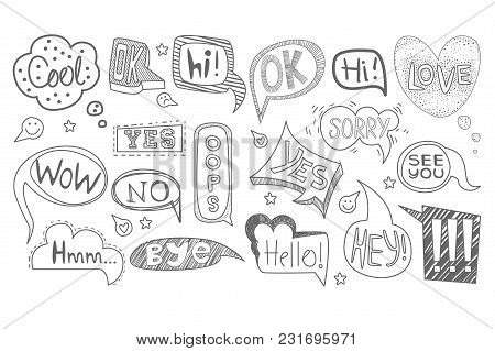 Collection Of Hand Drawn Speech Thought Bubbles Of Various Shapes. Sketches Of Dialog Clouds With Te