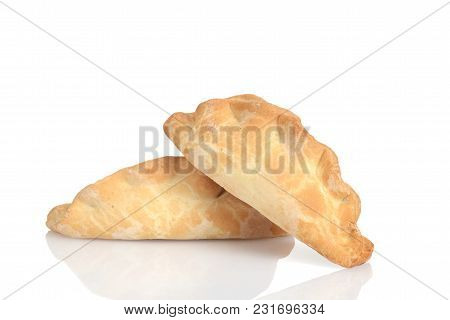 Closeup Two Traditional Cornish Pasties On White Background
