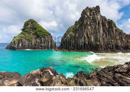 Fernando De Noronha, Brazil. Baia Dos Porcos Beach In This Brazilian Paradise. Arquipelago Fernando