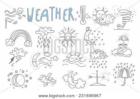 Set Of Hand Drawn Icons For Mobile Weather Forecast Application. Wind, Snow, Rainbow, Rain, Thunders