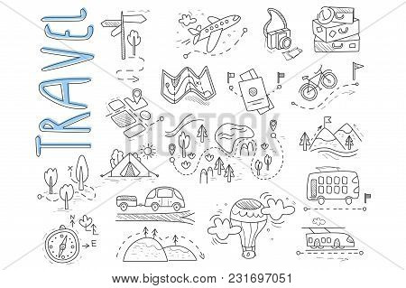 Doodle Set Of Travel And Camping Icons. Signpost, Air Balloon, Bike, Forest, Road, Camera, Car, Map,