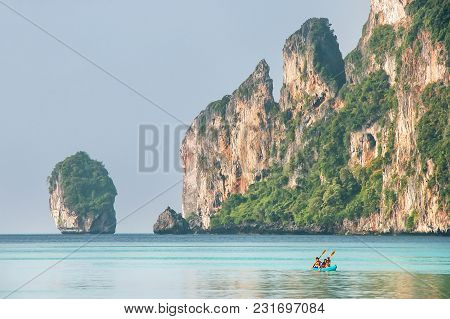 Limestone Cliffs Of Phi Phi Don Island, Krabi Province, Thailand. Koh Phi Phi Don Is Part Of A Marin