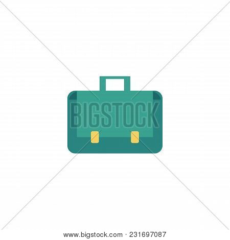 Vector Flat Briefcase, Business Case, Bag Icon. Luggage, Baggage Suitcase, Businessman Office Worker