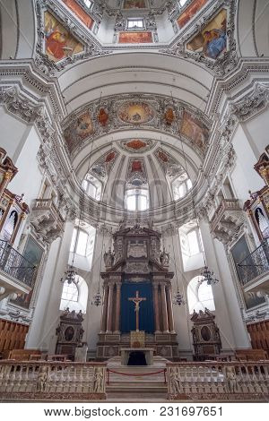 Salzburg, Austria - 14 April 2017 : Dome Of Salzburger Dom Or Salzburg Cathedral, The Baroque Cathed