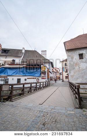 Cesky Krumlov, Czech Republic - 15 April 2017 : View Of The Building In Cesky Krumlov, The City In T